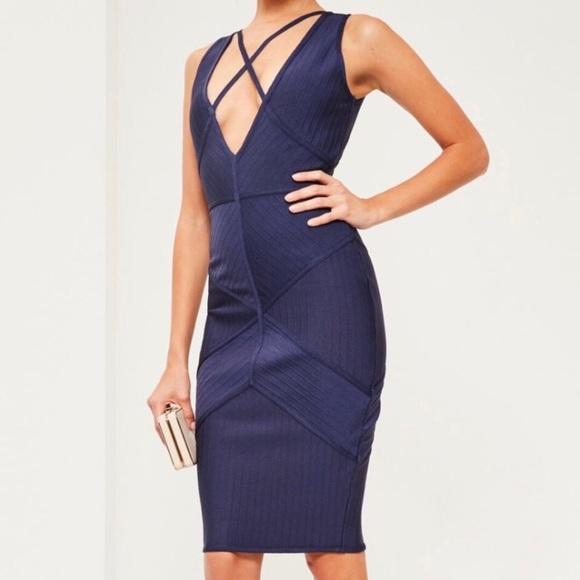 Missguided Dresses & Skirts - Dark Blue Missguided Midi Bandage Dress